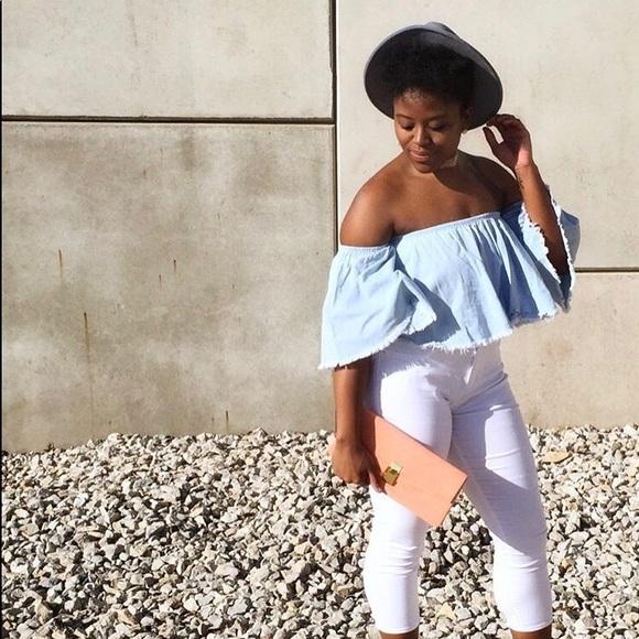 Fashion Nova Tops - Denim Bardo Shirt